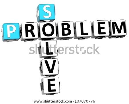 3D Solve Problem Crossword on white background - stock photo