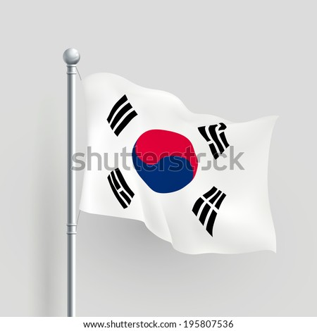3d South Korea flag blowing in a breeze - stock photo