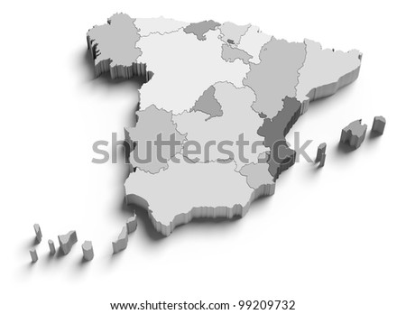 3d Spain grey map on white isolated - stock photo