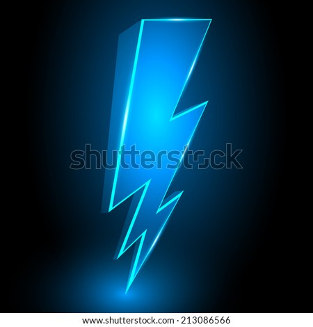 3D Sparkling Lightning Bolt Abstract Background Illustration - stock photo