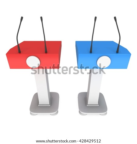 3d Speaker Podium. Red and blue tribune rostrum stands with microphones. 3d render isolated on white background. Debate, press conference concept - stock photo