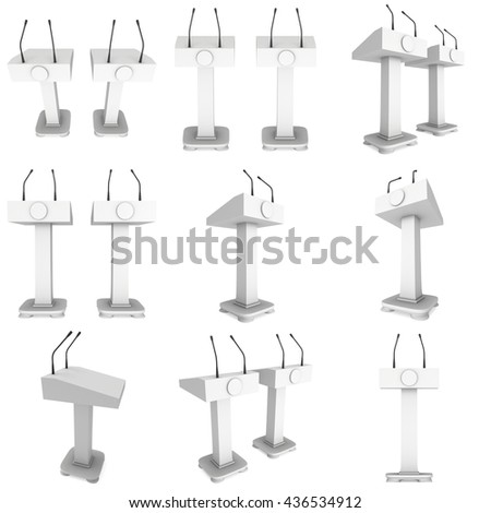 3d Speaker Podium Set. White Tribune Rostrum Stand with Microphones collection. 3d render illustration isolated on white background. Debate, press conference concept - stock photo
