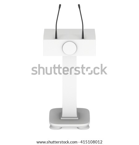 3d Speaker Podium. White Tribune Rostrum Stand with Microphones. 3d render isolated on white background. Debate, press conference concept - stock photo