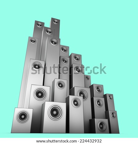 3d speaker sound system in silver over blue - stock photo