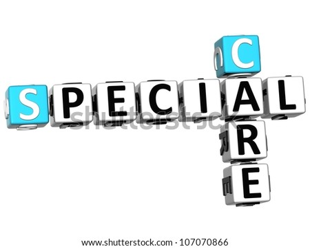 3D Special Care Crossword on white background