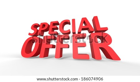 3D Special Offer red text - stock photo