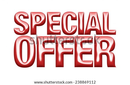 3D special offer word on white isolated background  - stock photo