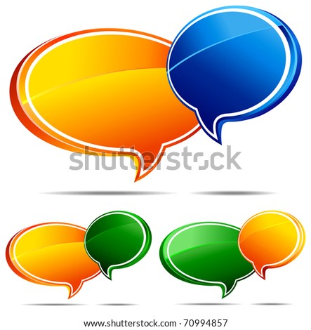 3D Speech bubbles  - A Vector file is also available - stock photo