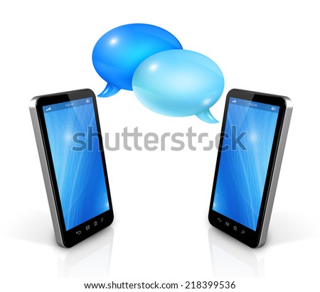 3D Speech bubbles and mobile phones. Communication and technology - stock photo