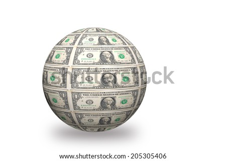 3D  Sphere made of one  dollar bills on white background - stock photo