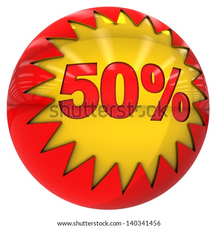 3d sphere with star and fifty percent with clipping path and isolated on white