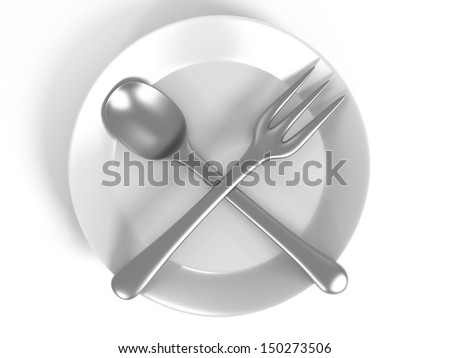 3d spoon and fork on plate isolated on white
