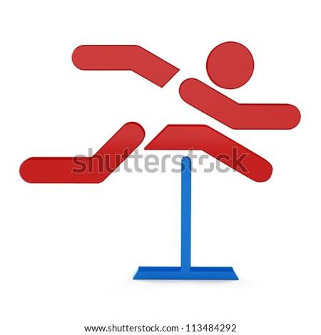 3D sport icon set... 3D hurdle race symbol - stock photo