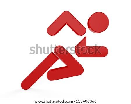 3D sport icon set... 3D running man symbol... - stock photo