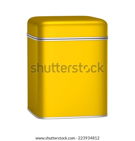 3D Square Gold Tin Can design product package, isolated - stock photo