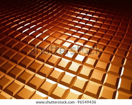 3d square pattern, brown chocolate background