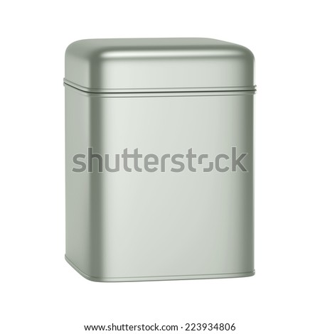 3D Square Silver Tin Can design product package, isolated - stock photo