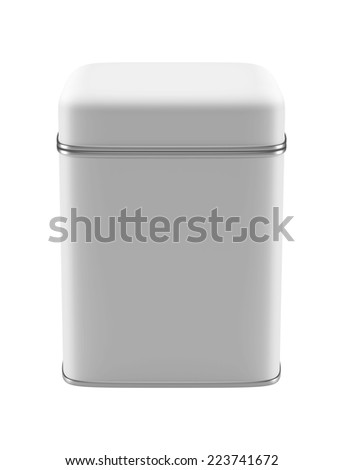 3D Square Tin Can design product package, isolated - stock photo
