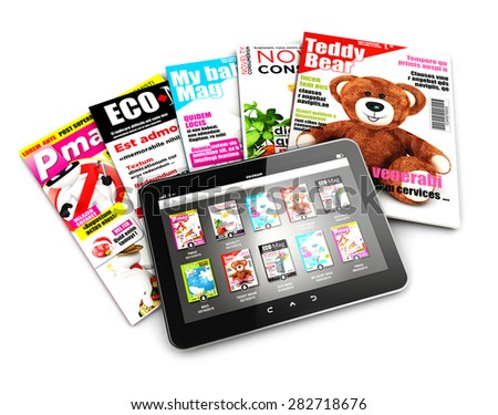 3d stack of magazines and tablet, isolated white background, 3d image