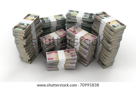 3D stack of 100, 500, 1000 UAE bills collection - stock photo