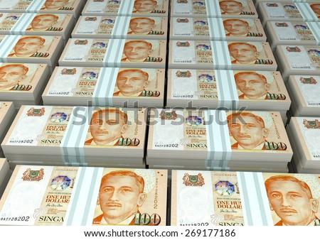 3D stack Piles of Singapore money - stock photo