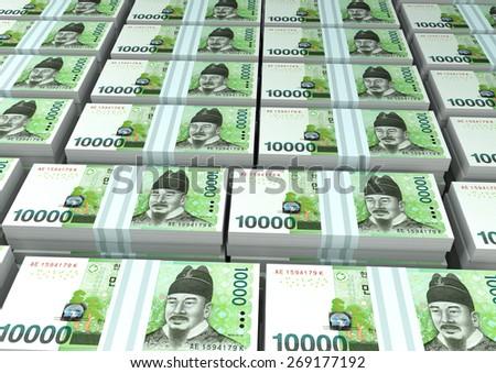 3D stack Piles of South Korea money - stock photo