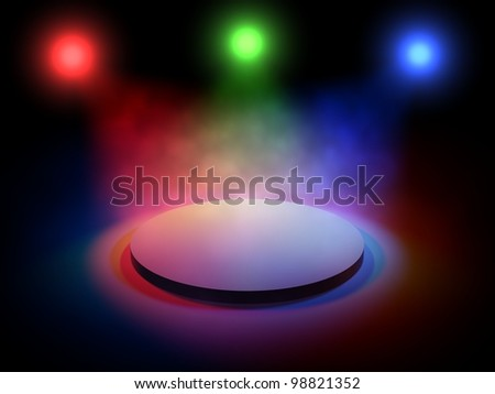 3d stage lights on black background - stock photo