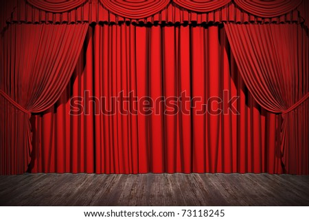 3d stage render, red curtain - stock photo