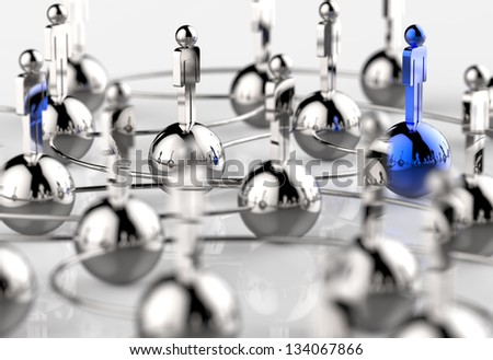 3d stainless colors human social network and leadership as concept - stock photo