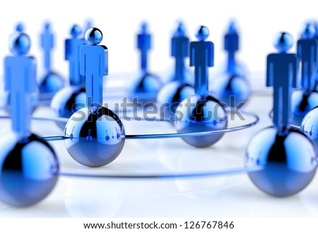 3d stainless human social network as concept - stock photo