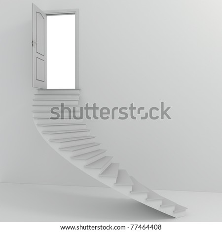 3d stairs going up - stock photo