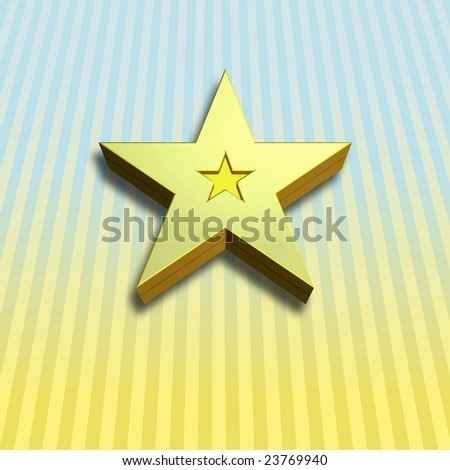 3 D star with shadow on background - stock photo