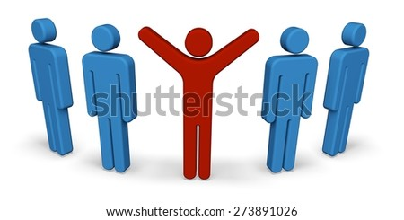 3D. Staring, Standing Out From The Crowd, Individuality. - stock photo