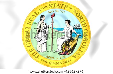 3D State Seal of North Carolina, USA.   - stock photo