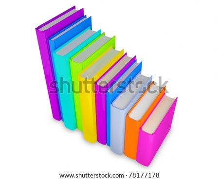 3d step colorful books on white isolated background (clipping path)