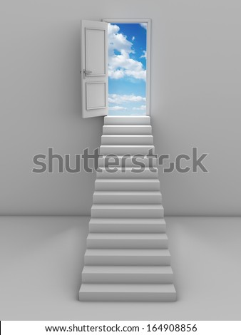 3d steps and door, isolated on white background - stock photo