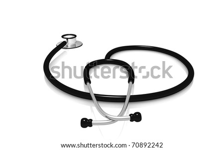 3d Stethoscope on a white background - stock photo