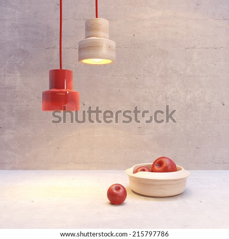3d still life with apples and lamps - stock photo