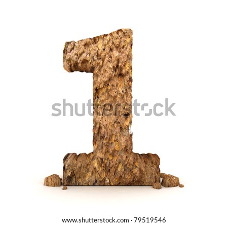 3d stone number isolated - stock photo