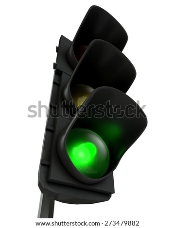 3D. Stoplight, Green Light, Three-dimensional Shape.