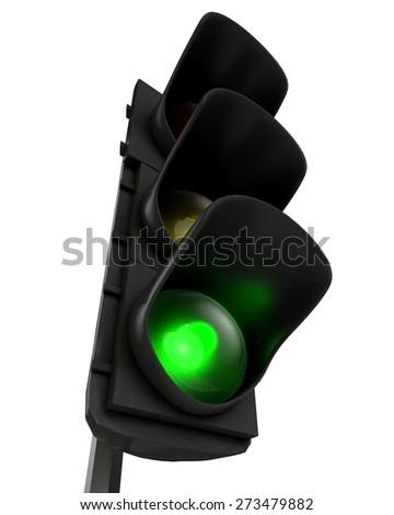 3D. Stoplight, Green Light, Three-dimensional Shape. - stock photo