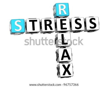 3D Stress Relax Crossword cube words on white background