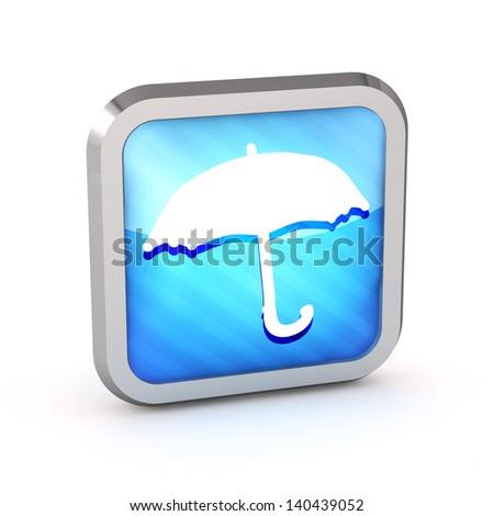 3d striped umbrella icon on a white background - stock photo