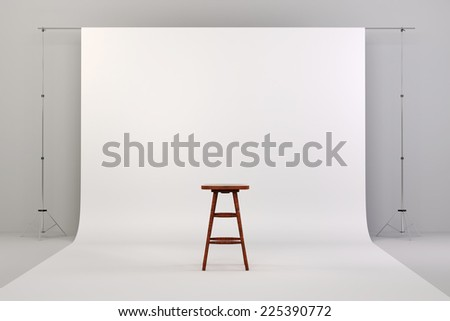 3d studio setup with white background and wooden chair - stock photo