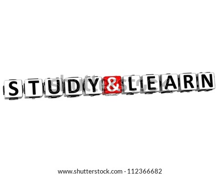 3D Study And Learn Button Click Here Block Text over white background - stock photo