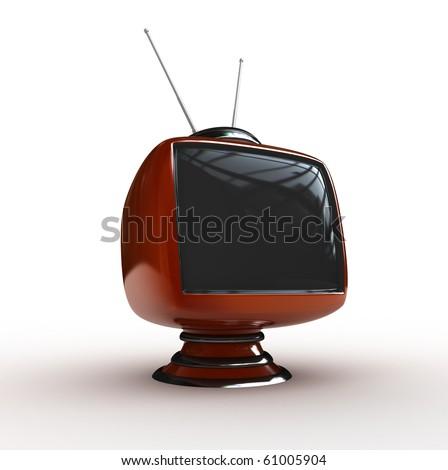 3d  Stylish classic tv isolated - stock photo