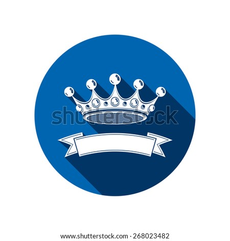 3d stylish monarch crown decorated with ribbon, royalty symbol. Branding emblem, VIP services theme. - stock photo