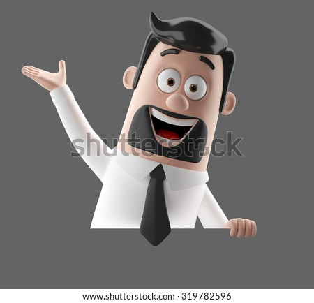 3D stylized figure, hipster bearded man in suit, shirt and tie. Businessman, teacher, insurance agent, representative, funny cartoon character isolated with no background, commercial communication set - stock photo