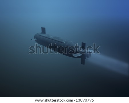 3D submarine under water rear view - stock photo