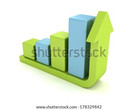 3d success bar diagram with green top rising up arrow - stock photo